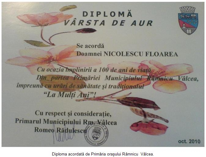 Diploma acordata de Primarie pentru varsta de aur